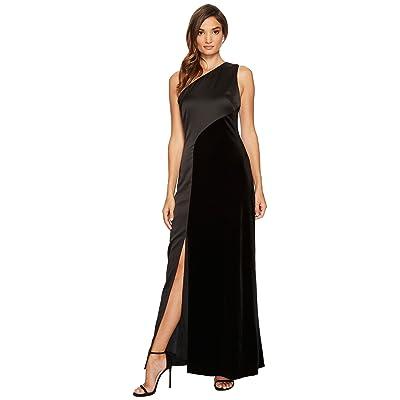 Laundry by Shelli Segal Velvet One Shoulder Gown (Black) Women