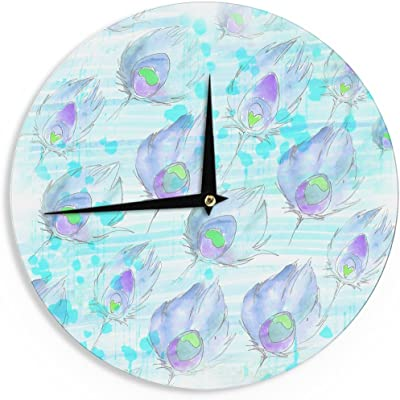 12-Inch Kess InHouse Petit Griffin Feathers Gray Illustration Wall Clock