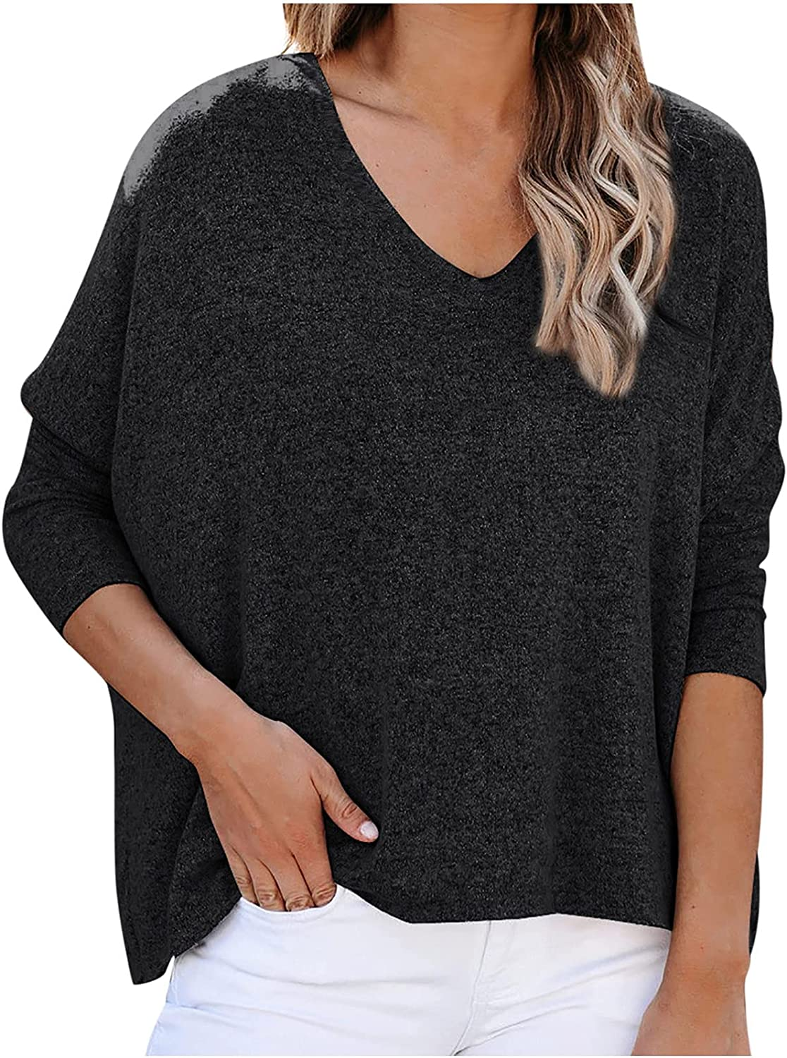 Women Plus Size V Neck Sweaters, Crop Long Batwing Sleeve Loose Tops Vintage Lightweight Elegant Pullover Tops Blouse