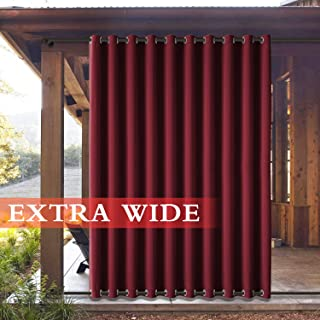 Frelement Extra Wide Outdoor Curtains Windproof, Pravicy Protection Outside Draperies with Rustproof Grommet Indoor/Outdoor Drapes for Gazebo Pergola, Red, 120W x 96L, 1 Panel