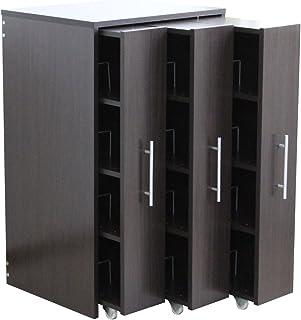 収納棚 スライド キャスター付き 三連装 左右設置可 本棚 スリム マンガ コミック ダークブラウン TCP349-DBR