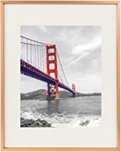 Frametory, 11x14 Aluminum Rose Gold Photo Frame with Ivory Color Mat for 8x10 Picture & Real Glass, Metal Picture Frame Collection (Rose Gold)