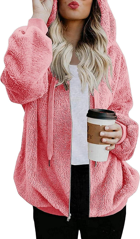 Women's Fleece Hooded Sweatshirt Solid Zipper Jacket Faux Fur Wi