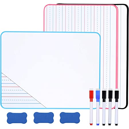 Small Dry Erase Board for Kids, Double-Sided Small White Boards for Students, 9 x 12 Inch Ruled Dry Erase Lapboard with Markers & Erasers, Lined/Plain by Aelfox (3-Pack)
