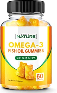 Omega 3 Fish Oil Gummies with DHA and EPA, Chewable Omega 3 Fish Oil Supplement, 60 Gummies (30 Day Supply)