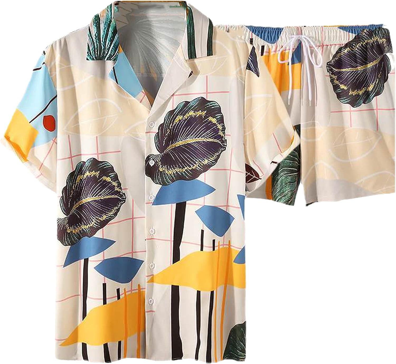 Summer Men Hawaiian Sets Beach Printing Streetwear Lapel Short Sleeve Shirt Drawstring Shorts Vacation Mens Suits