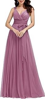 Ever-Pretty Vestido de Novia Largo para Mujer Escote v Profundo Tul sin Mangas Corte Imperio A-línea 07303