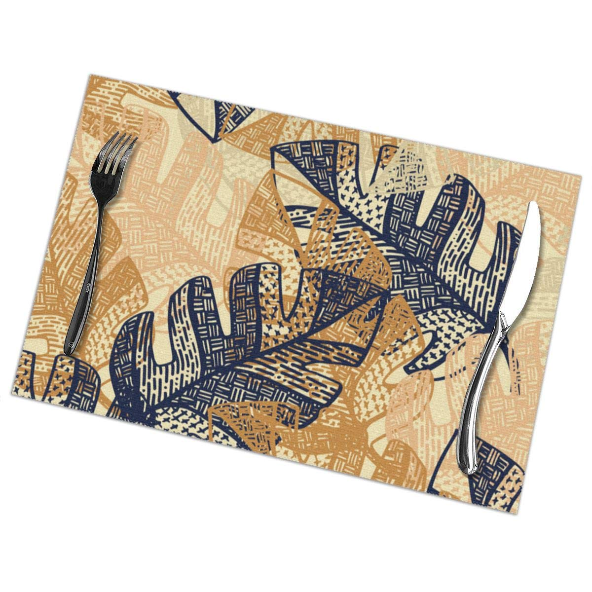 Amazon Com Nonebrand Jungle Tangle Navy Blush Gold Pvc Placemat Weave Design Set Of 6 Heat Resistant Dining Table Place Mats For Kitchen Table 12 X 18 Inches Home Kitchen