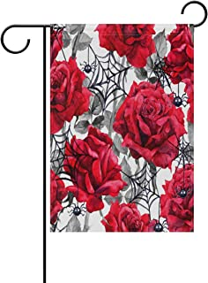 Zheng Halloween Red Roses Black Spiders Web Double Sided Polyester Garden Flag Banner 28x40 Inch Yard Home Decor