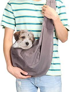 AGPTEK Slingväska för husdjur, hundsele väska axelväska med ficka – säker, bekväm, vändbar, justerbar, passar små och mede...
