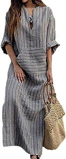 e0ff17c6454 Simgahuva Womens Linen Maxi Dress Cotton Stripes Shift Dresses Plus Size  with Pocket
