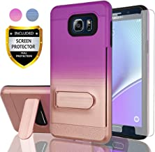 AYMECL Galaxy Note 5 Phone Case,Samsung Galaxy Note 5 Case with HD Screen Protector,[Card Slots Holder] Plastic TPU Hybrid Gradient Color Shockproof Case for Galaxy Note 5-GC Purple&Rose Gold