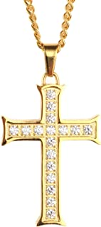 Men's Stainless Steel Cubic Zirconia Micro Pave Cross Pendant Necklace Gold, Silver