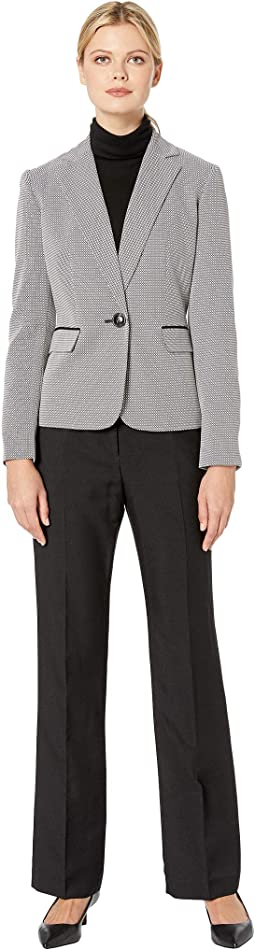 Button Shawl Collar Novelty Pants Suit