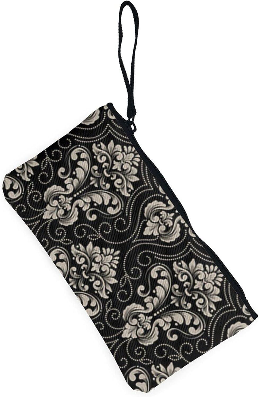 AORRUAM Classical luxury old flower Canvas Coin Purse,Canvas Zipper Pencil Cases,Canvas Change Purse Pouch Mini Wallet Coin Bag