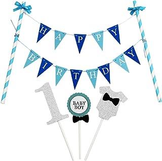"""KUNGYO """"Happy Birthday""""Geburtstags Kuchen Dekoration - Mini Blau Kuchen Bunting Banner und """"1"""" Kuchen Topper für 1 Jahre Alten Jungen Geburtstagsfeier"""
