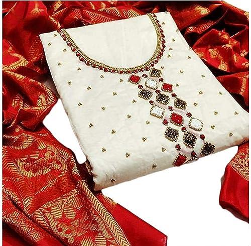 Women s Banarasi Jacqaurd Silk woven Embroidery Work Cotton Dupatta Salwar Suit Dress Material Unstitched Fabric Free Size