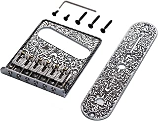 WANBY Professional Vintage Style 6 String Saddle Bridge Plate Beautiful Decorative Pattern for Tele Electric Guitar Replacement Parts(Silver)