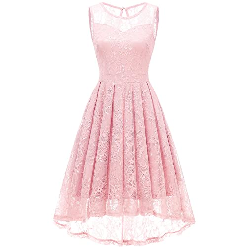 8b1e3634460f Gardenwed Women s Vintage Lace High Low Bridesmaid Dress Sleeveless Cocktail  Party Swing Dress