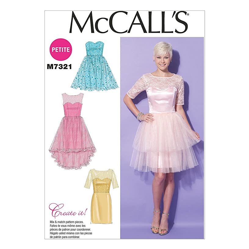 McCall's Patterns M7321 Misses'/Miss Petite Sweetheart-Neckline Dresses, A5 (6-8-10-12-14)