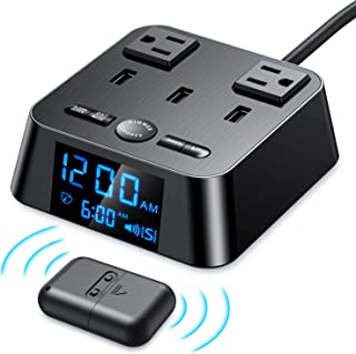 Loud Alarm Clock for Heavy Sleepers, Vibrating Alarm Clock with Wireless Bed Shaker, USB Charger Ports and AC Power Outlets, Digital Alarm Clocks with Pillow Shaker for Deaf and Hearing-impaired