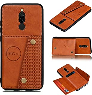 For Xiaomi Redmi 8 Shockproof Magnetic PU + TPU Protective Case with Card Slots New (Red) Lyaoo (Color : Brown)