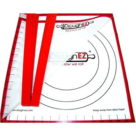 DoughEZ Patented Extra Large 17.5 x 32 Non-Slip Silicone Pastry Dough Rolling Mat and 6 Guide Sticks - BPA Free, Approved materials