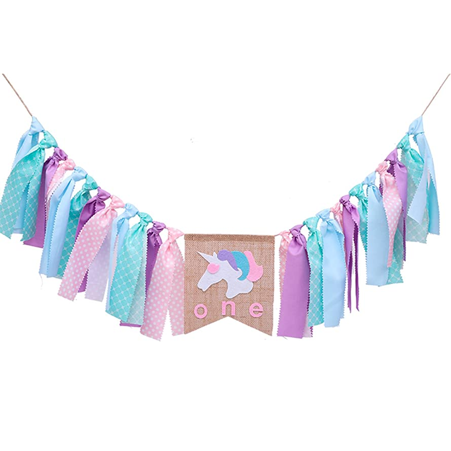 """1ST Happy Birthday Banner(Assembled),Unicorn """"One"""" Birthday Highchair Decoration, Colorful Ribbons Garland, Girl's Boy's First Birthday Party Decorations,Dreamy Photo Backdrop for First Birthday Baby"""