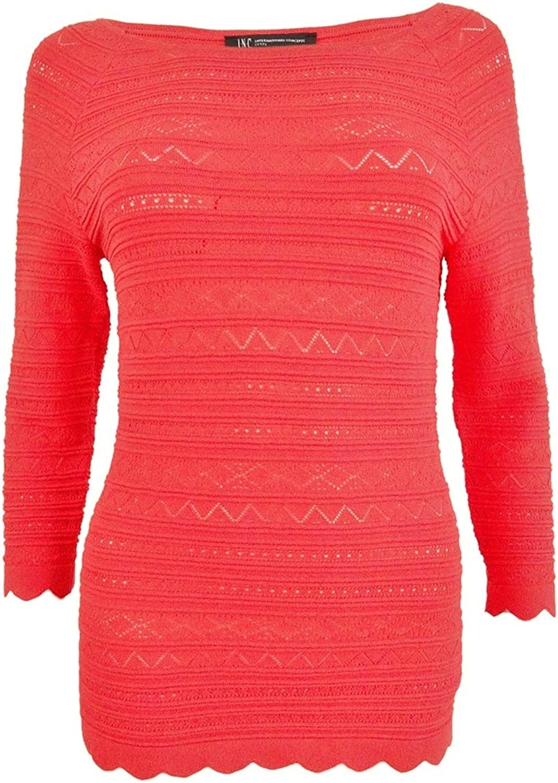 INC International Concepts Petite MixedStitch Sweater (Hibiscus Bloom, PXL)