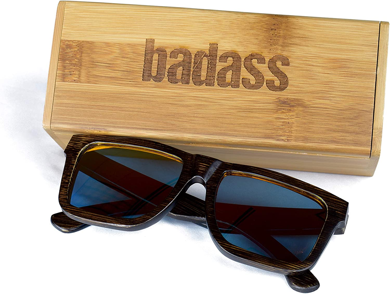 Polarized Floating Bamboo Wood New Wayfarer Sunglasses for Men and Women by BADASS
