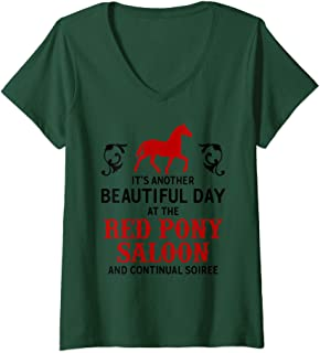 Womens Horse Lover Shirt Red Pony It Is a Beautiful Day Gift ZSP V-Neck T-Shirt