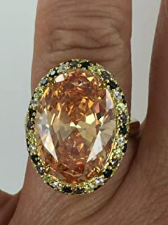 Amazing 20 Ct Cognac, Canary, Brown, Black & Clear CZ 925 Silver 14kt Ring Sz 7 NJ-792