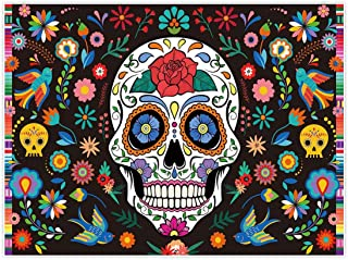 Allenjoy 8x6ft Day of The Dead Backdrop for Mexican Fiesta Sugar Skull Flowers Photography Background Dia DE Los Muertos Birthday Party Supplies Fiesta Banner Table Decor Decoration Photo Booth Studio