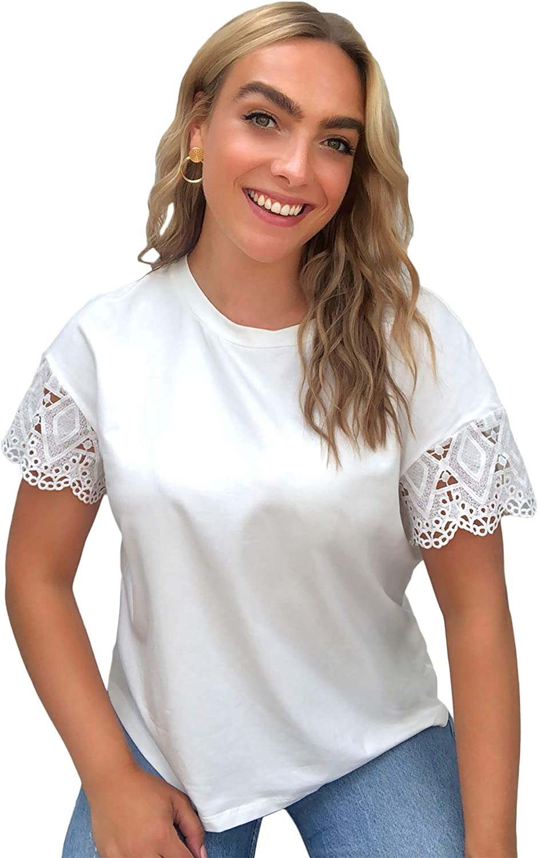 SOLY HUX Women's Plus Size V Neck Lace Trim Short Sleeve Top Blouse