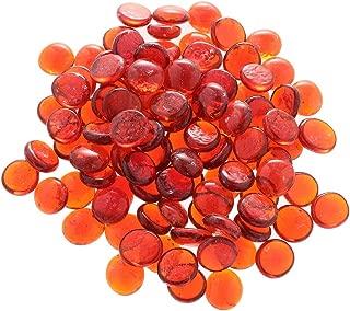 LOVIVER 100PCS Orange Glass Stone, Marbles, Pebbles for Vases, Flat Bottom, Round Top, Rocks, Bowl Filler Gems, Decorative Centerpieces, Florist Supplies