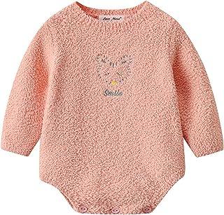 للجنسين الطفل الصوف الشتاء دافئ داخلية الرضع بنين بنات طويلة الأكمام حلزات ملابس (Color : Orange, Size : 18M)
