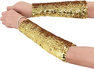 Women Shiny Sequin Stretchy Oversleeves Sparkle Performance Cosplay Costume Cuffs