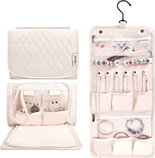 Caperci Hanging Travel Jewelry Organizer Case Beige Leather Foldable Jewelry Roll for Storage Travel, Necklaces, Rings, Earrings, Bracelets