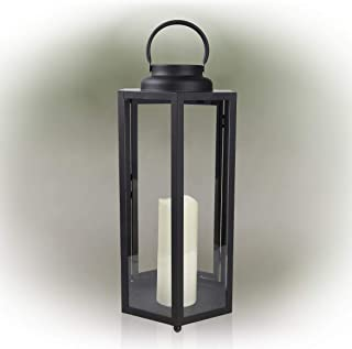"Alpine Corporation IVY104HH-L Alpine 18"" Tall Hexagonal Solar Powered Metal Lantern with LED Lights, Black Outdoor Décor"
