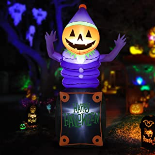 HOOJO 8 FT Halloween Inflatables Pumpkin Head Ghost in The Box Outdoor Halloween Decorations with Build-in LEDs, Blow up H...
