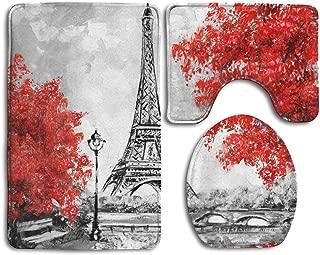 Tsjkwo Oil Painting Paris European City Landscape France Wallpaper Eiffel Tower Black White Red Bathroom Rug 3 Piece Bath Mat Set Contour Rug Lid Cover