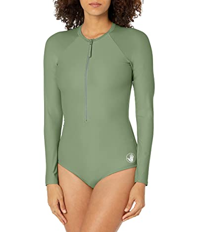 Body Glove Smoothies Channel Solid Long Sleeve Zip Front One Piece Paddle Swimsuit