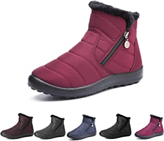 Camfosy Womens Winter Snow Boots, Waterproof Fur Lined Warm Ankle Booties Ladies Outdoor Flat Walking Shoes Thermal Non-Sl...