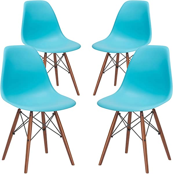 Poly And Bark Vortex Modern Mid Century Side Chair With Wooden Walnut Legs For Kitchen Living Room And Dining Room Aqua Set Of 4