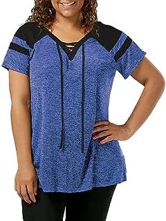 DADKA Fashion Womens Shirt Plus Size Short Sleeve Raglan Sleeve Lace Up T-shirt Bandage Tops Blouse