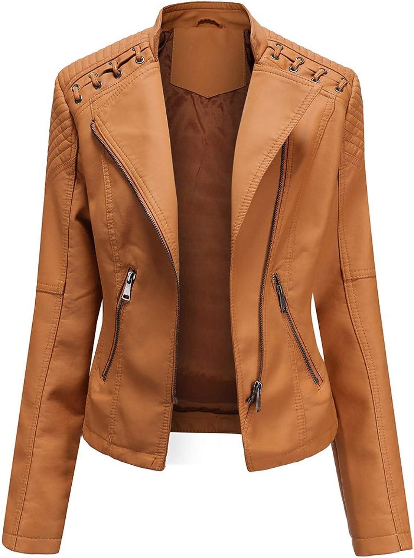 FUNEY Faux Leather Lapel Motor Jacket Fashion Cool Zip Biker Short Punk Cropped Coat Tops for Women Ladies