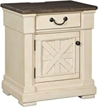 Ashley Furniture Signature Design - Bolanburg One Drawer Night Table with Cabinet - Vintage Casual - Antique White