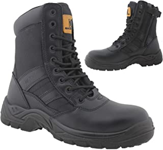 Mens Leather Combat Ankle Boots Steel Toe Cap Military Combat Safety Trainers Police Work Shoes