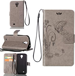Sangrl Funda para Samsung Galaxy S4 Mini (i9190) 4.3pulgada, Libro Cuero de la Premium PU Leather Case [Card Holder] [Stand Function] Carcasa Protectora en Relieve Mariposa Gris