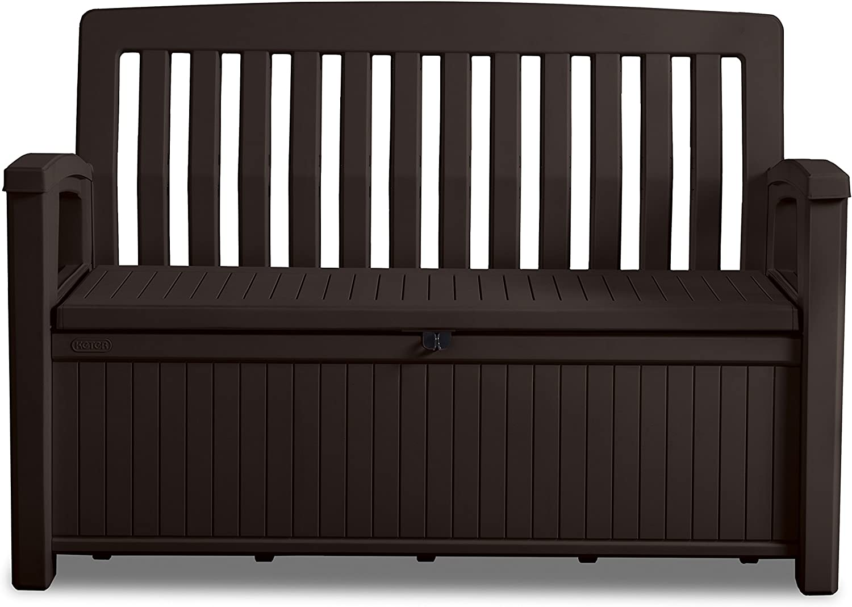 Keter Gartenbank und Kissenbox Patio Bench, Braun, 20L